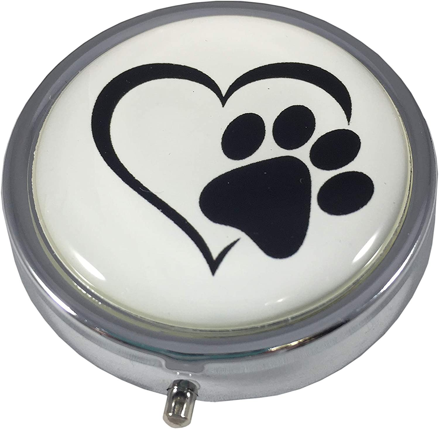 Paw Selling rankings Print Max 49% OFF Heart Silver Three Section Purse Pill Travel Pocket Bo