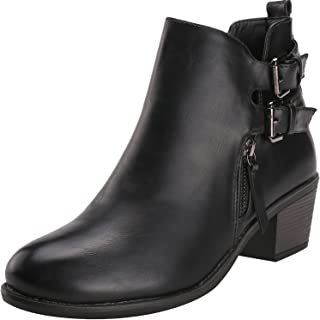 f05ef3634bf555 Alexis Leroy Womens  Double Buckle Classic Solid Heeled Jodhpur Boots