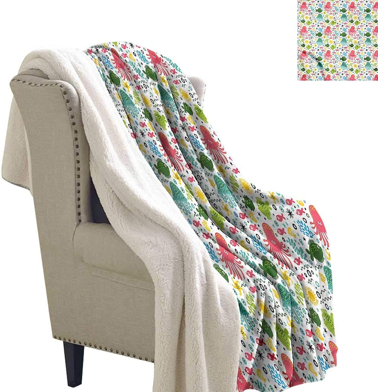 Aquarium Flannel Bed Blankets Cartoon Aquatic Doodle Fashion Design 60x78 Inch