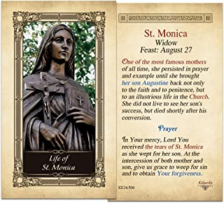 Life of St. Monica Laminated Holy Card - Pack of 3