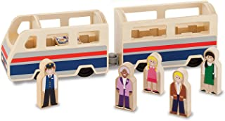 Melissa & Doug木製Passenger Train with 2Train Cars and 5再生Figures