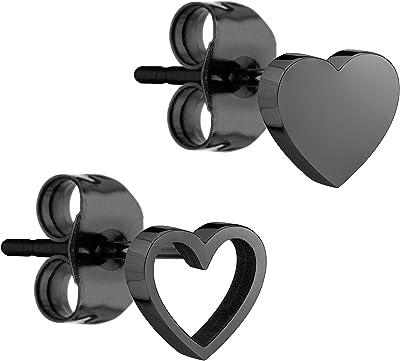 Liebeskind Berlin Orecchini a forma di cuore, in acciaio inox, 0,7 cm