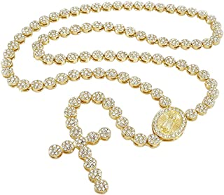 14k Gold/White Gold/Black Gold-Plated Iced Flower Rosary Necklace - Jesus Cross Pendant - 30 Inches