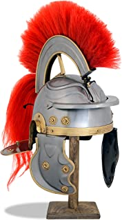 Medieval Roman Centurion Armor Helmet with Red Plume and Horse Hair Tail, One Size, Fits Most, Chrome, 18