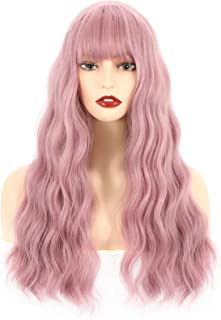 VCKOVCKO Long Pink Wig Curly Wavy Wig With Air Bangs Natural Looking Machine Made Heat Resistant Synthetic Wig for Cosplay...