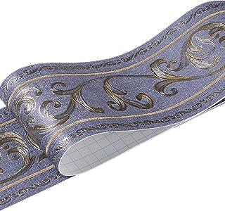 10cm x 5m ヨーロッパ式花柄 ウォールステッカー インテリアマスキングテープ ボーダーシート リメイクシート 壁紙シール (ダークブルー)