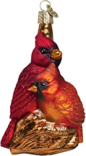 Old World Christmas Pair Bird Watcher Collection Glass Blown Ornaments for Christmas Tree,Northern Cardinal