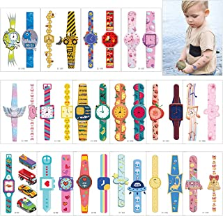 Cieovo Cartoon Temporary Tattoos, 16 Sheets Various Construction Vehicle, Dinosaur, Fruit Watch Patterns Temporary Tattoos Great for Birthday Party Favors Waterproof Tattoos Stickers