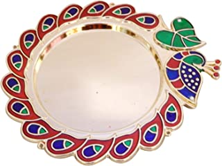 Designer Peacock and Leaf Design Pooja Thal Rakhi Platter Engagement Ring Platter Tilak Thali with 2 Attached Kumkum Holders