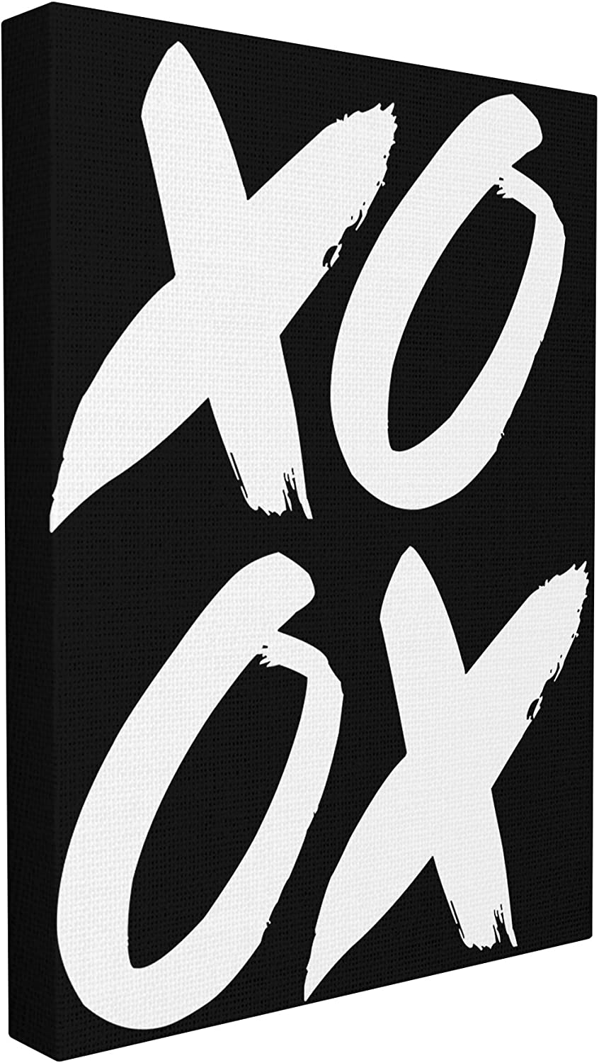 Stupell Home Décor XOXO Black and White Stretched Canvas Wall Art, 16 x 1.5 x 20, Proudly Made in USA
