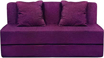 urban gifts 2 Seater Sofa Cum Bed Washable Cover with 2 Cushion (4x6 ft, Magenta)
