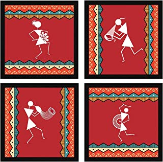 ArtX Paper Warli Indian Tribal Wall Art Framed Paintings, 21 X 21 inches(Combined), 10.5 X 10.5 each, Abstract, Multicolo...