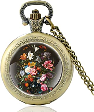 ZDANG Classique Jolies Fleurs Design Noir Vintage Montre De Poche À Quartz Hommes Femmes Charme Pendentif Heures Horloge -Bro