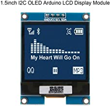 MakerHawk I2C OLED Display Module 1.5 Inch OLED Module Arduino LCD Display SSD1327 Driver Chip, 128x128 Pixels, 16-bit Grey Level with I2C Interface, DC 3.3V/ 5V for Arduino