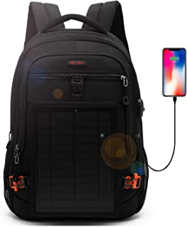 DTBG Solar Backpack 15.6 Inches Laptop Backpack Anti-Theft Business Bag Nylon Commuter Travel Backpack Casual Rucksack with Removable 5 Watt Solar Panel Charge for iPad smart phone Men Women-Black