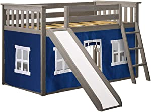 Max & Lily 180217-151-022 Low Bunk with Slide, Twin, Clay, Blue Curtain