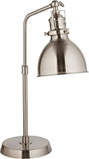 Rivet Pike Factory Industrial Table Lamp With Light Bulb - 6 x 13 x 19 Inches, Brushed Steel