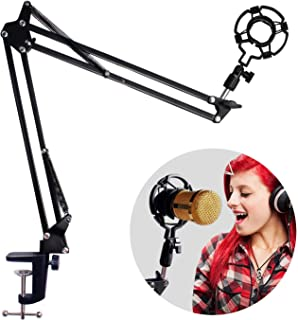 Eastshining 9W4092017B9U7M5593 Adjustable Microphone Suspension Boom Scissor Arm with Shock Mount Mic Clip Holder, Black