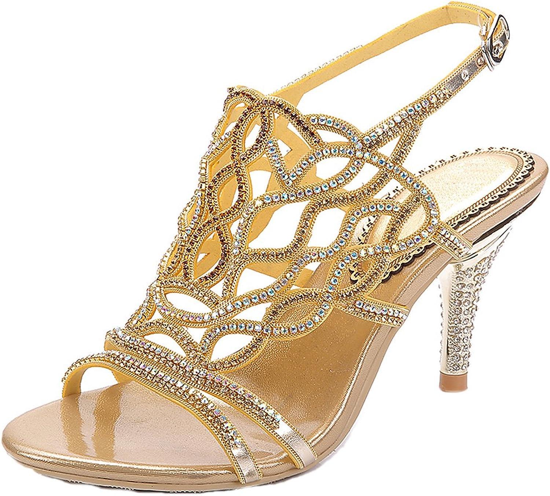 LizForm Glitter Strappy Wedding Shield Sandals Rhinestone Cutouts Evening High Heels