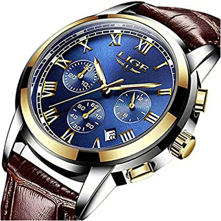LIGE Mens Watches Fashion Business Quartz Analog Waterproof Watch Gents Sport Chronograph Date Wristwatch Casual Leather Blue Dress Calendar Clock Men