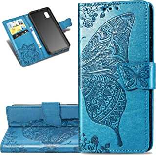 LEECOCO Galaxy A10E Case Premium PU Leather Flip Wallet Case Butterfly Embossed Full Body Protection Flip Stand Card Holder Magnetic Cover for Samsung Galaxy A10E / A20E Big Butterfly Blue SD