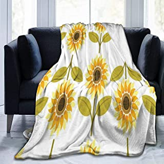 SLHFPX Fleece Plush Throw Blanket Comforter Sunflower White Faux Fur Soft Cozy Warm Fluffy Lightweight Microfiber Fuzzy Blanket for Bed Couch Sofa Chair Fall Nap Travel Camp Picnic