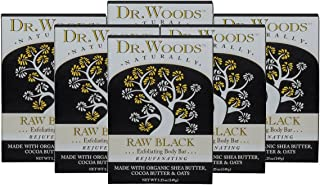 Dr. Woods Raw Black Exfoliating Body Bar with Organic Shea Butter, 5.25 oz (Pack of 6)
