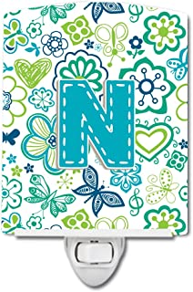 Caroline's Treasures Letter N Flowers and Butterflies Teal Blue Ceramic Night Light, 6x4, Multicolor