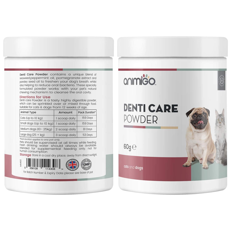 Animigo Polvos Cuidado Dental para Perros y Gatos | Suplemento Polvo para Higiene Bucal de Mascotas | Cuida Dientes, Encías y Refresca el Aliento | con Algas Marinas, Hierbabuena y Granada |