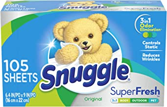 Snuggle Plus Super Fresh Fabric Softener Dryer Sheets with Static Control and Odor Eliminating Technology