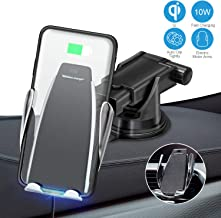 JJYu Wireless Car Charger Mount, Automatic Clamping Qi 10W 7.5W Fast Charging & 5W Car Mount, Windshield Dashboard Air Vent Phone Holder Compatible with iPhone Xs Max XR 8, Samsung S10 S9 S8 Note 9