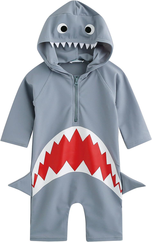 VAENAIT BABY 0-24M Infant & Little Boys UPF 50+ Protection Swimsuit Onepiece Rashguard Swimwear Sunsuit Quick Dry Jaws