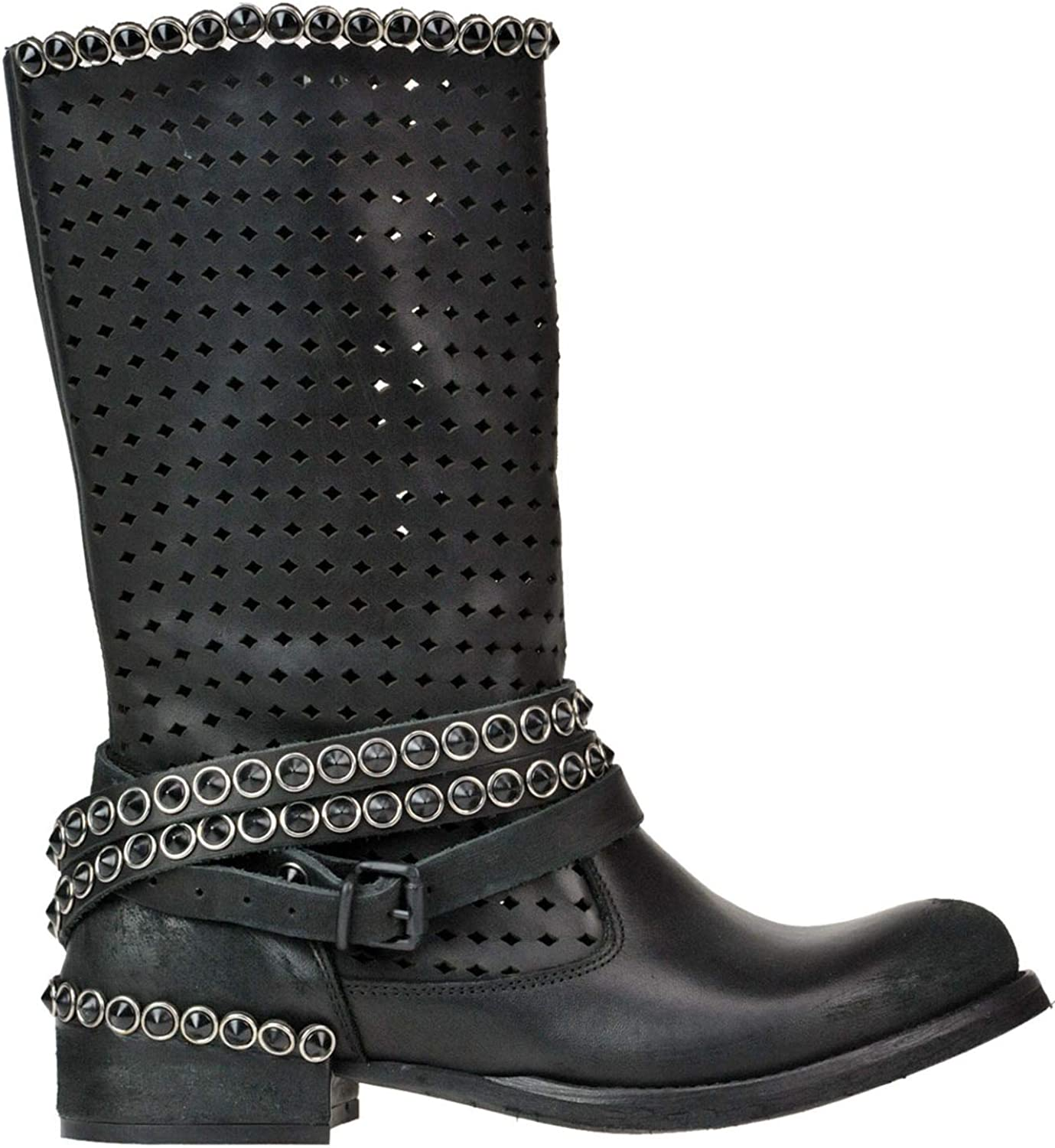 METISSE Women's MCGLCAS000005019E Black Leather Ankle Boots