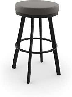Amisco Industries Swice Swivel Metal Barstool, Textured Black/Light Cold Grey Polyester