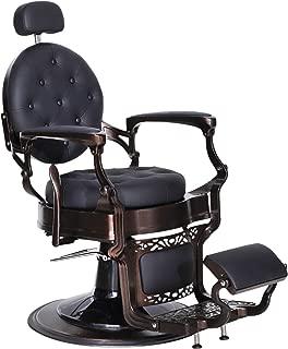 BarberPub Heavy Duty Metal Vintage Barber Chair All Purpose Hydraulic Recline Salon Beauty Spa Chair Styling Equipment 3849 (Black)