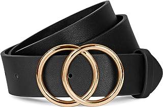 أحزمة سوداء للنساء لفستان الجينز الذهبي حلقة مشبك جلد صناعي حزام طباعة الفهد
