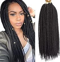 VRHOT 6Packs 18 inch Box Braids Crochet Hair Small Synthetic Hair Extensions Dreadlocks 24 strands/pack Twist Crochet Braids Braiding Hair Long for Black Women 24 strands (18 inch, 1B#)