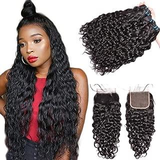 Water Wave Bundles With Closure Brazilian Human Hair Bundles With Closure GEM Beauty 4 Bundles Brazilian Hair With Lace Closure 16 18 20 22 with 14 inch Natural Black
