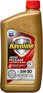 Havoline 5W30 High Mileage Synthetic Blend, 1 Quart, 1 Pack