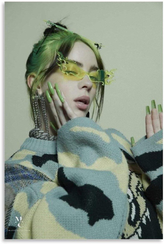LOVE P/óster de Billie Eilish Cabelo Verde en lienzo y pared de 30 x 45 cm