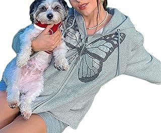 SMIMGO Y2k Zip Up Sudadera con capucha para mujer, color gris, negro, con cremallera, sudadera de moda