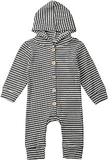 xiaoluokaixin Newborn Unisex Baby Girl Boy Striped One Piece Romper Infant Button Down Jumpsuit Sleepwear Clothes