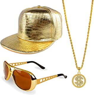 80s/90s Hip Hop Costume Kit - Cotton Bucket Hat,Gold Chain Beads,Oversized Rectangular Hip Hop Nerdy Lens Sunglasses