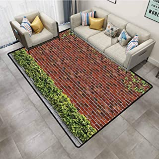 Kitchen Rugs and mats Rustic Brick Wall with Creeper Plants and Leafs Natural Beauty Pattern Tile Red Green White Bedroom Carpet 6'x9'