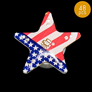 Lumistick Light Up 1 inch Blinky American Flag Star Magnetic Lapel Pin - Flashing Patriotic LED Badge - Memorial Day Fourth of July Flashing Brooch (48 Stars)