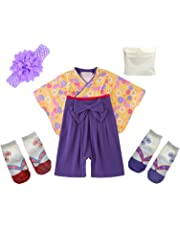 ギフトバッグ付き 巫女服風デザイン ベビー用ロンパース 靴下2足 ヘアバンド付き