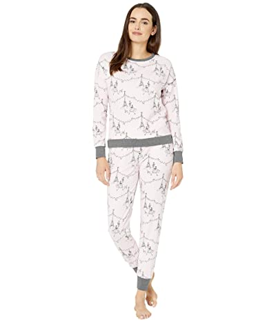 BedHead Pajamas Long Sleeve Pullover Crew Jogger Set (Christmas in Paris) Women