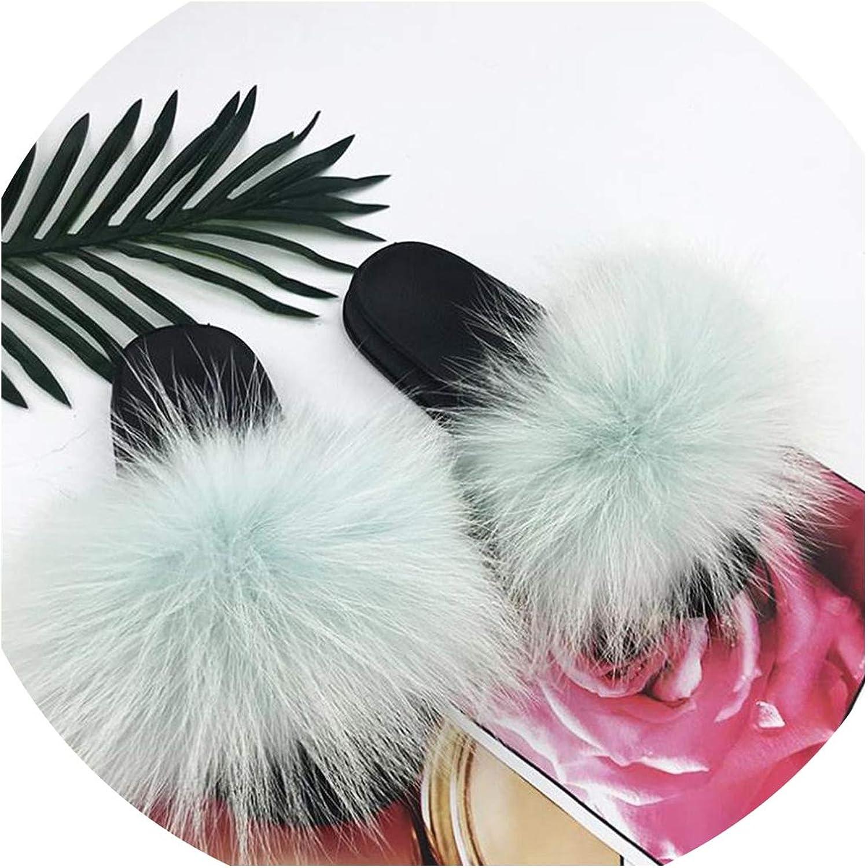 Just XiaoZhouZhou Real Raccoon Fur Slippers Women Sliders Casual Fox Hair Flat Fluffy Fashion Home Summer Big Size 45 Furry Flip Flops shoes,Light bluee,6