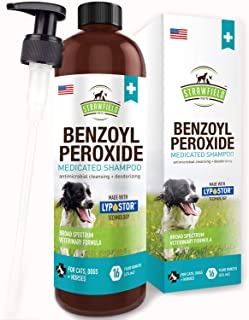 Benzoyl Peroxide Shampoo for Dogs, Cats, Sulfur - 16 oz - Medicated Dog Shampoo for Smelly Dogs, Anti Itch Dry Skin Allergy Treatment, Folliculitis, Seborrhea, Dermatitis, Dandruff, Infection, Mange
