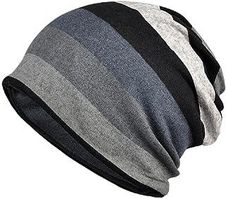 KISSTYLE ふんわり ニット帽 薄め コットン混合 ワッチキャップ 男女兼用 ビーニー 帽子 ボーダー柄